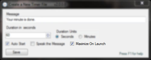 The maximize on launch checkbox on the ADDTimer Launcher Creation dialog